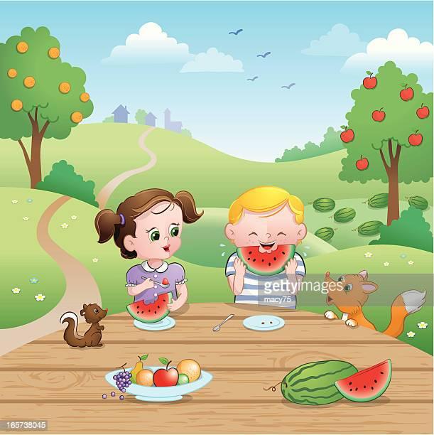 Watermelon picnic summer kids