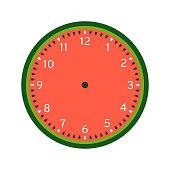 Watermelon printable clock face template