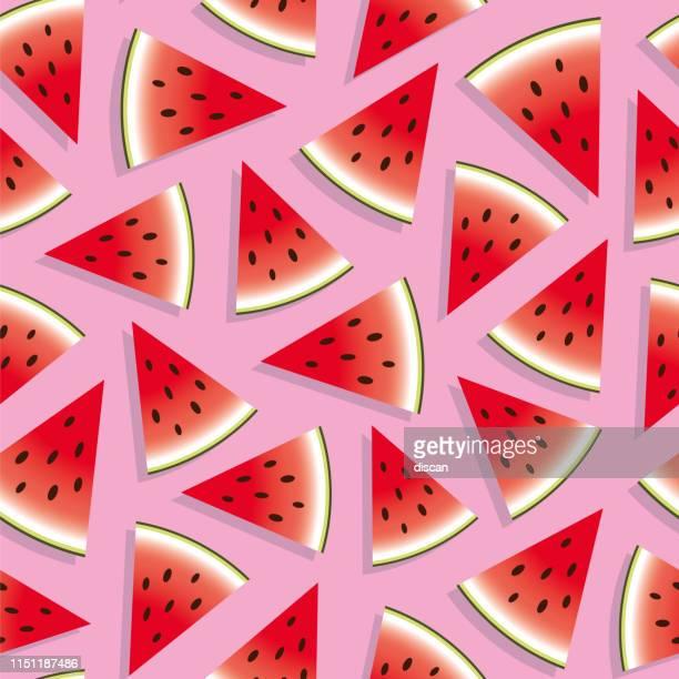 illustrations, cliparts, dessins animés et icônes de melon d'eau motif sans soudure. - pastèque