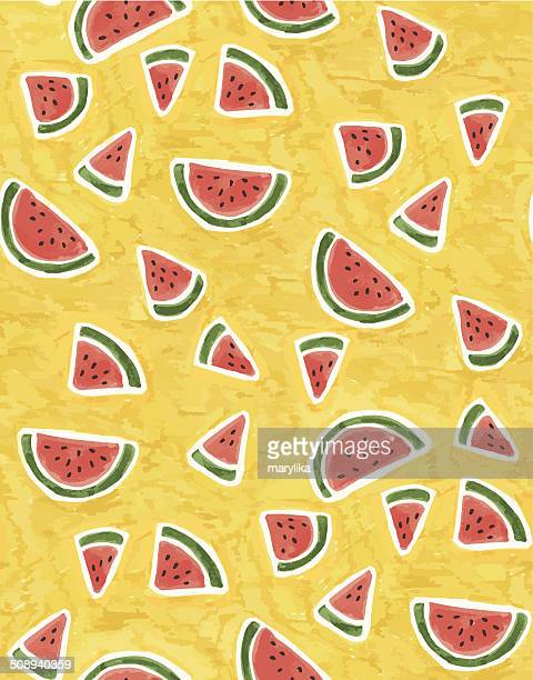Watermelon seamless watercolor hand-painted pattern