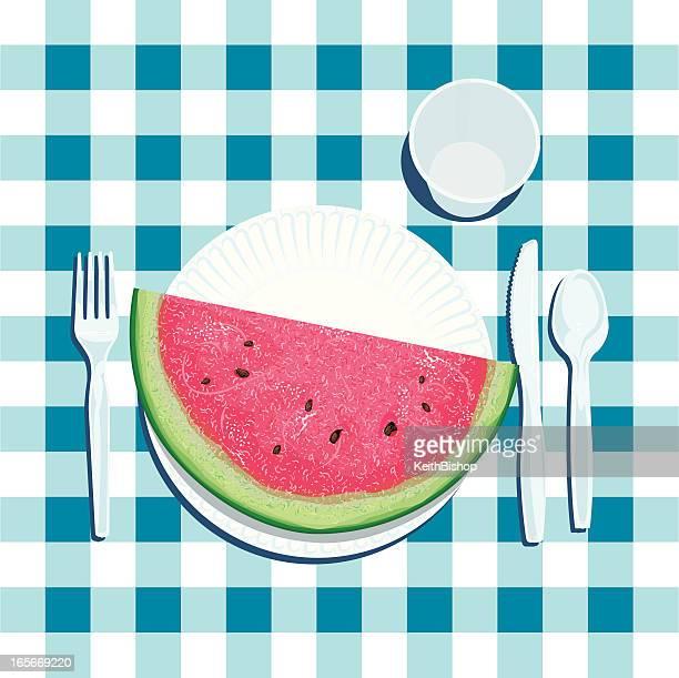 Wassermelone Slice auf Papier Platte im Sommer-Picknick