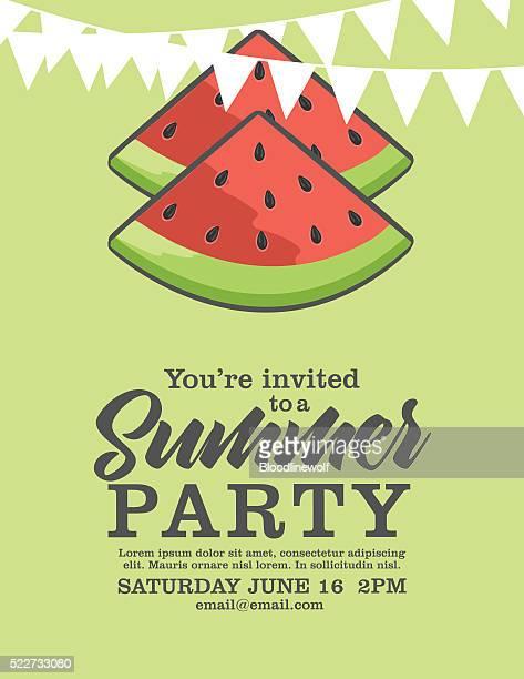 Watermelon Summer Party Invitation.