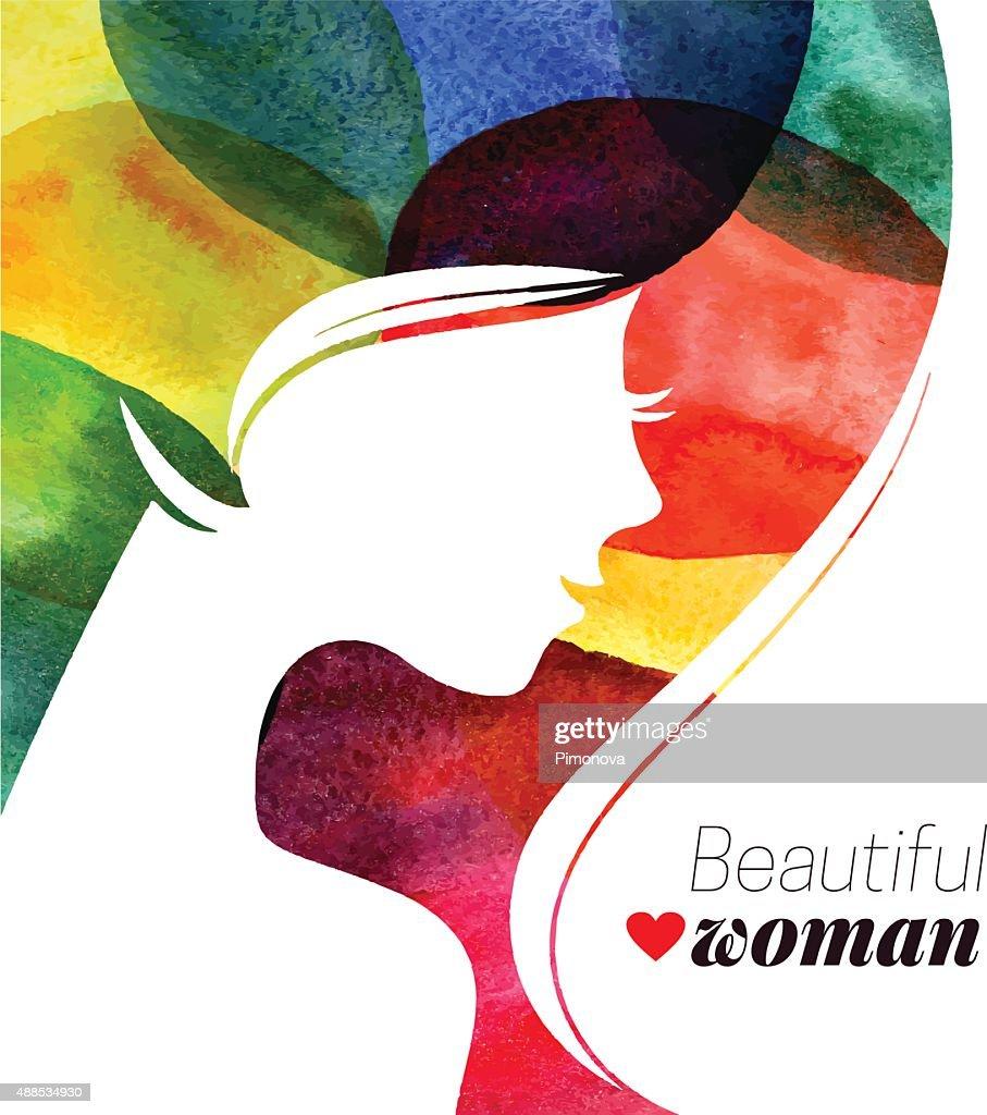 Waterсolor beautiful girl. Vector illustration of woman beauty