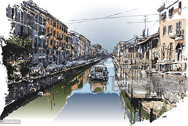 waterway - milan stock illustrations, clip art, cartoons, & icons