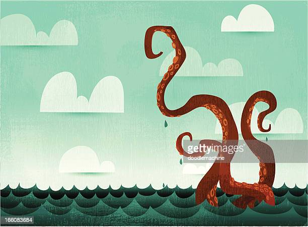 watery octopus tentacles - fantasy stock illustrations