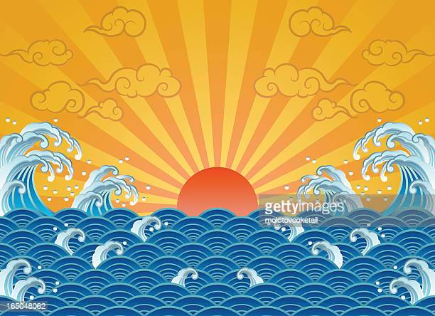 wave and sun - japanese culture stock illustrations