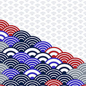 wave blue grey black brown colors card banner design for text abstract scales simple Nature background with japanese circle pattern. Vector