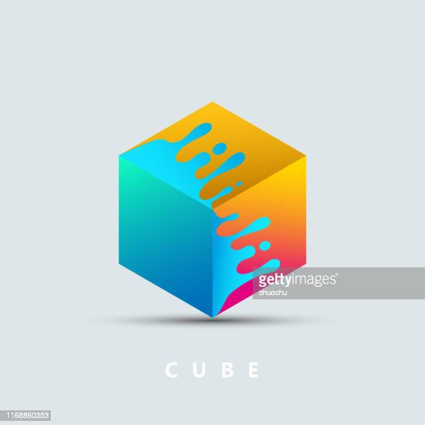 wave drop pattern with 3d geometric cube pattern for design - cube stock illustrations
