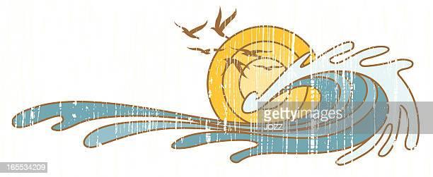 wave handmade emblem - surf stock illustrations, clip art, cartoons, & icons