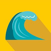 Wave icon in flat style
