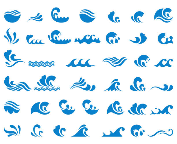 wave icon set - vector stock illustrations
