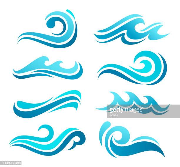 wave icon set - welle stock-grafiken, -clipart, -cartoons und -symbole