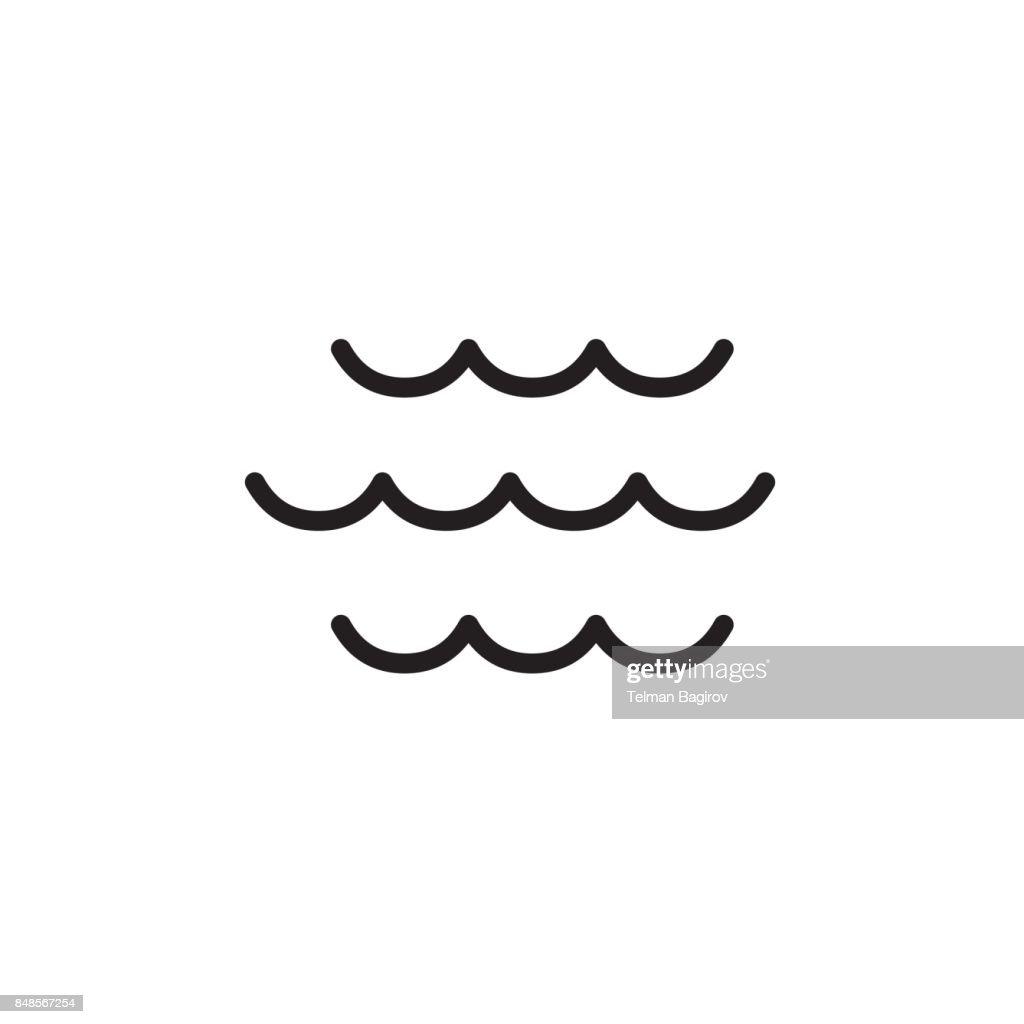 wave icon thin line black