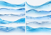 Wave realistic splashes. Liquid water surface with bubbles and splashes ocean or sea vector backgrounds