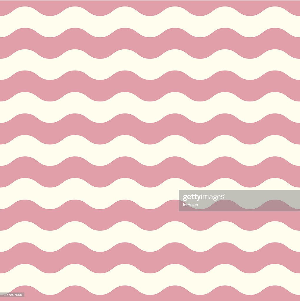 Wave retro seamless pattern - pastel pink and white