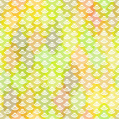 wave seamless pattern abstract scales simple Nature background japanese circle spring green yellow pink white colors. Can be used for fabrics, wallpapers, websites. Vector