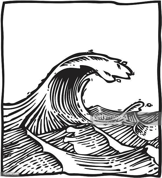 wave - woodcut stock illustrations, clip art, cartoons, & icons