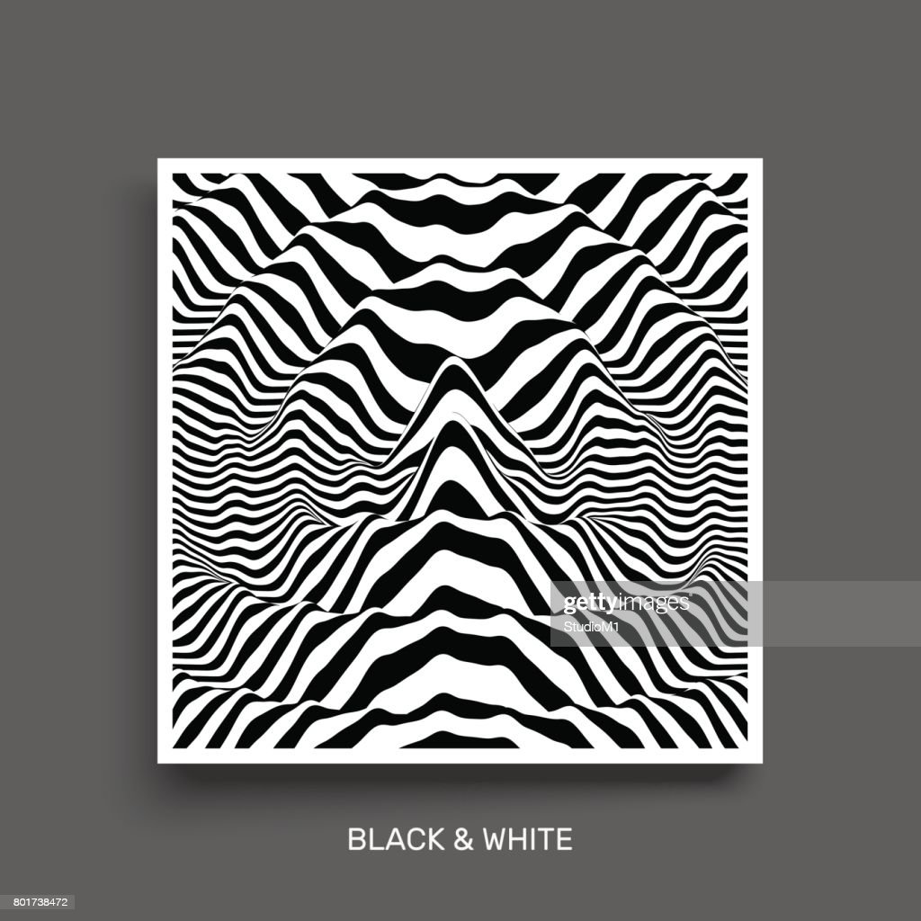 Waveform background. Surface distortion. Pattern with optical illusion. Vector striped illustration. Black and white sound waves. Cover design.