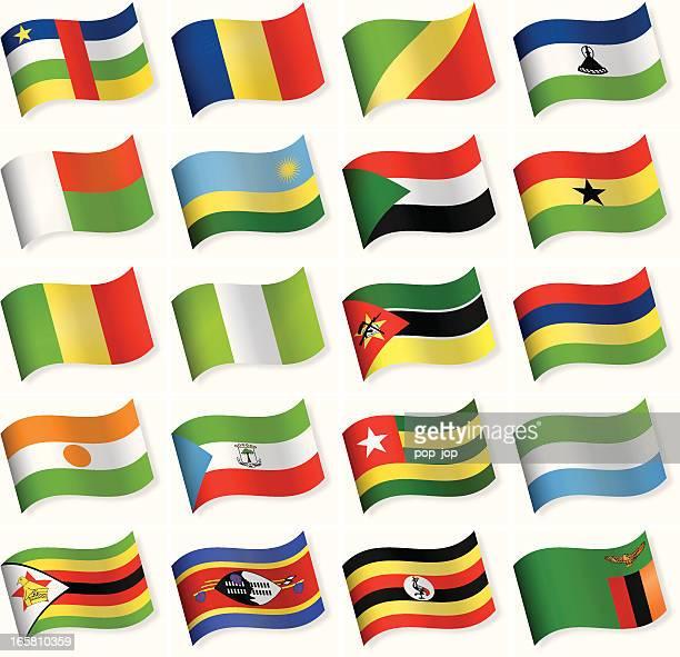 ilustrações, clipart, desenhos animados e ícones de bandeira de forma de onda coleção de ícones-áfrica - níger