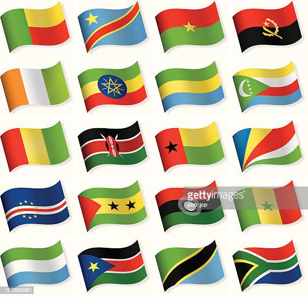 Waveform Flag Icon collection - Africa