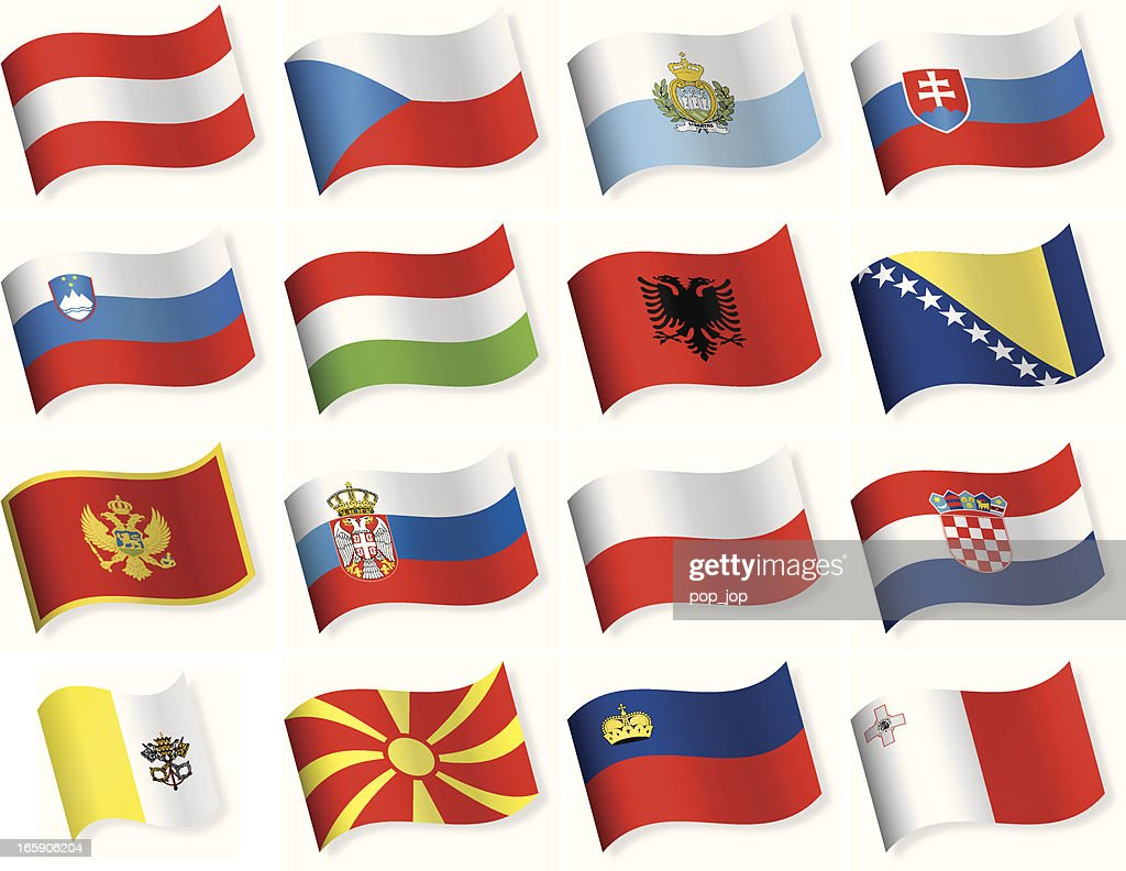 Waveform Flag icons - Central and Southern Europe : stock illustration