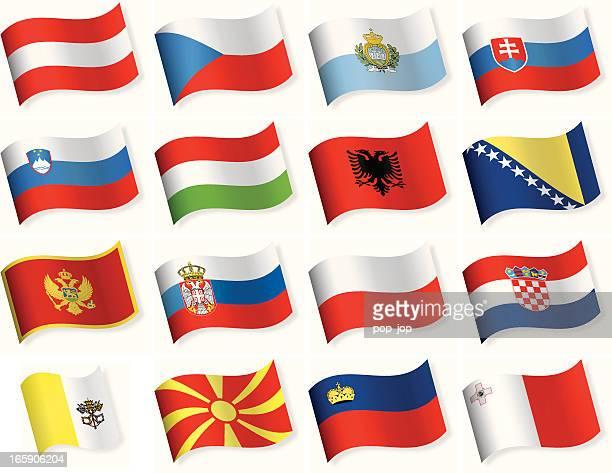 waveform-flaggen-icons-mittel- und südeuropa - polnische flagge stock-grafiken, -clipart, -cartoons und -symbole