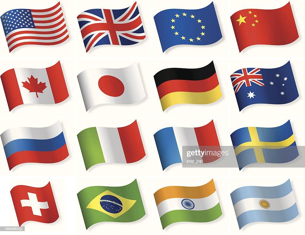 Waveform most popular flag icons