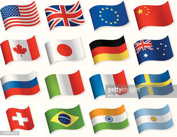 waveform most popular flag icons - all european flags stock illustrations