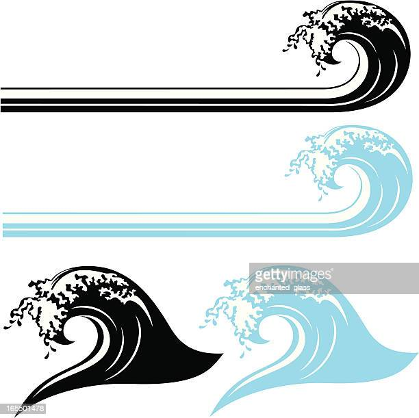 waves, black and white & color - surf stock illustrations, clip art, cartoons, & icons