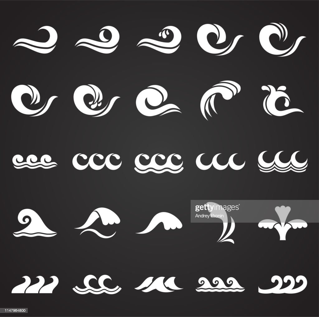 Waves icons set on black background for graphic and web design. Simple vector sign. Internet concept symbol for website button or mobile app.