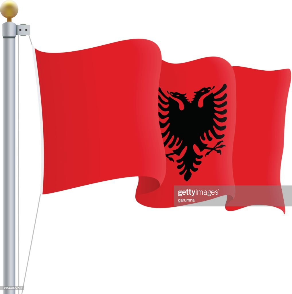 Waving Albania Flag Isolated On A White Background. Vector Illustration