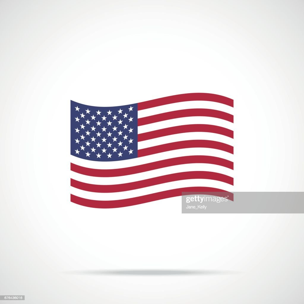 Waving American flag icon. Flag of the United States of America. Vector icon
