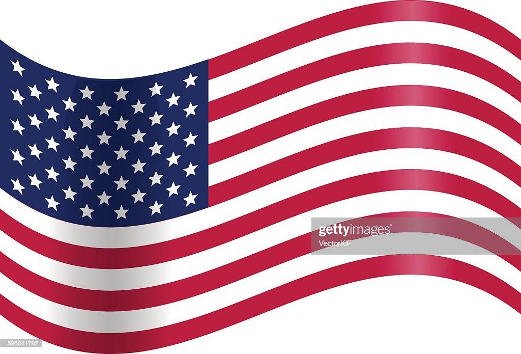 Waving American flag. Vector Illustration