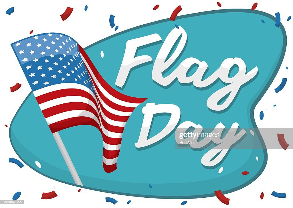 Waving American Flag With Confetti To Commemorate Flag Day stock