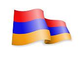 Waving Armenia flag on white background.