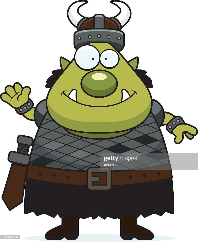 Waving Cartoon Orc