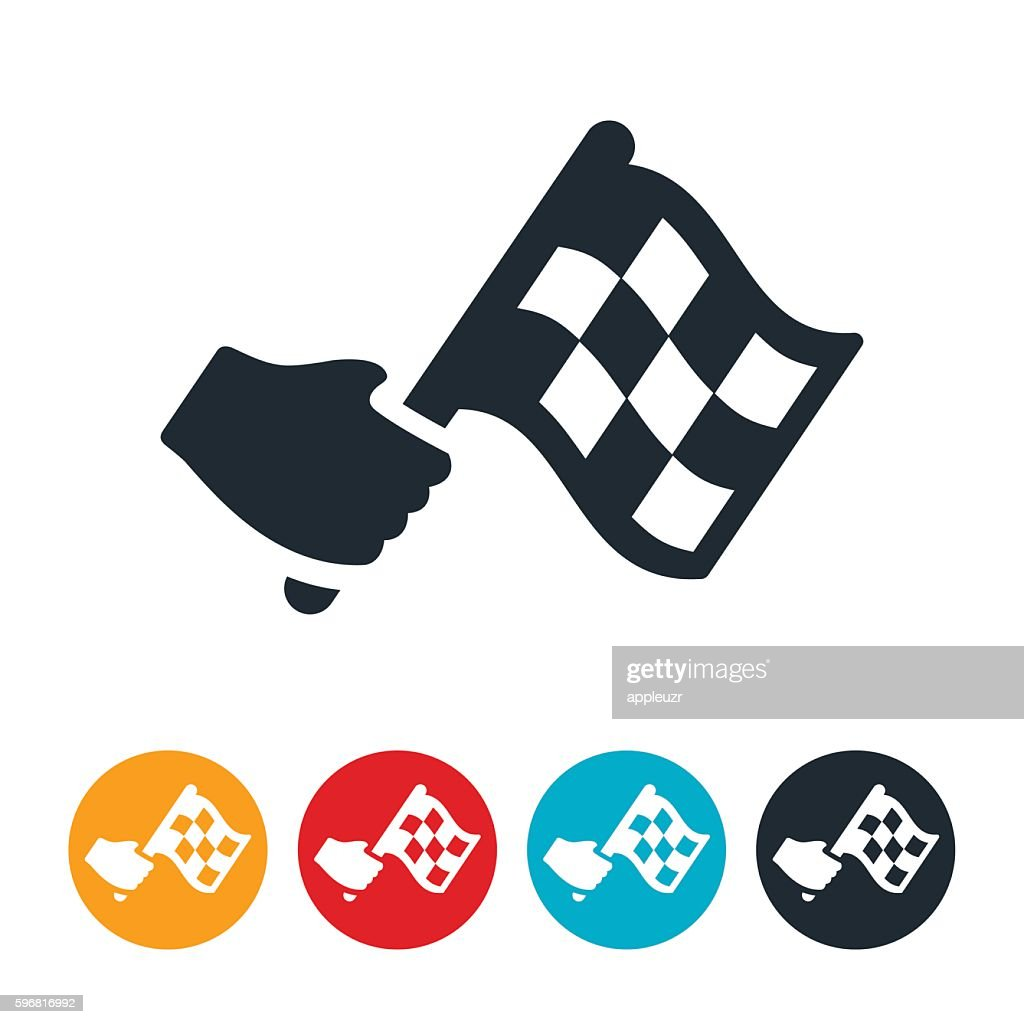 Waving Checkered Flag Icon