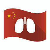 Waving China flag with  a healthy human lung icon
