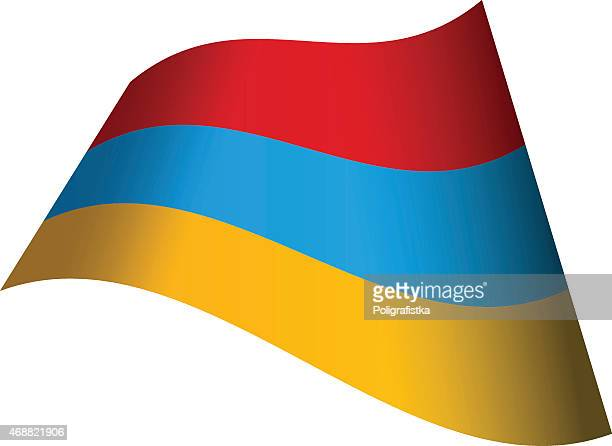 waving flag of armenia - armenian flag stock illustrations