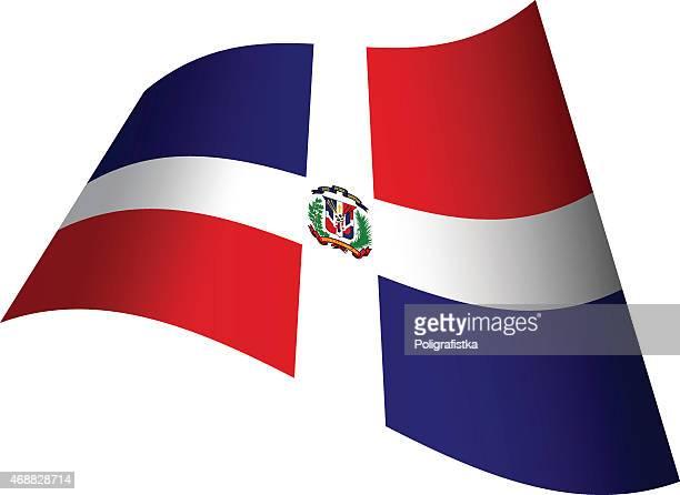 waving flag of dominican republic - dominican republic flag stock illustrations