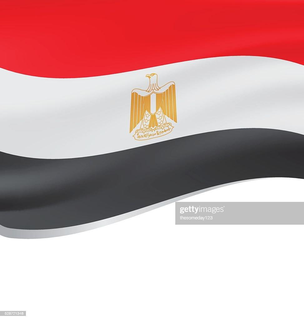 Waving flag of Egypt isolated on white