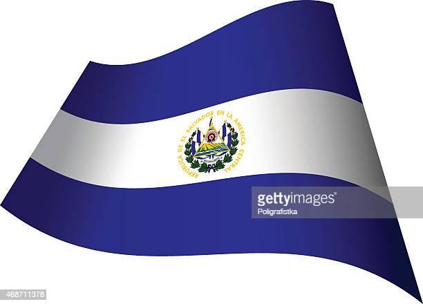 エルサルバドル旗を振る - エルサルバドル国旗点のイラスト素材/クリップアート素材/マンガ素材/アイコン素材