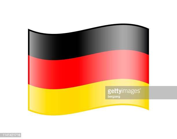 wellenfahne von deutschland. glänzende ikone - deutsche flagge stock-grafiken, -clipart, -cartoons und -symbole