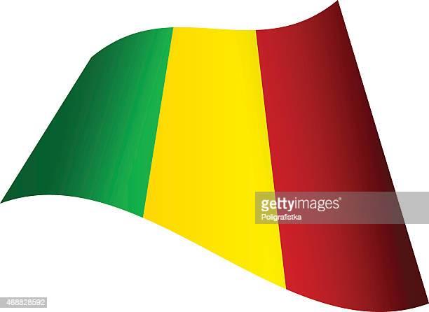waving flag of mali - mali stock illustrations, clip art, cartoons, & icons