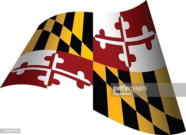 waving flag of maryland - maryland stock illustrations, clip art, cartoons, & icons