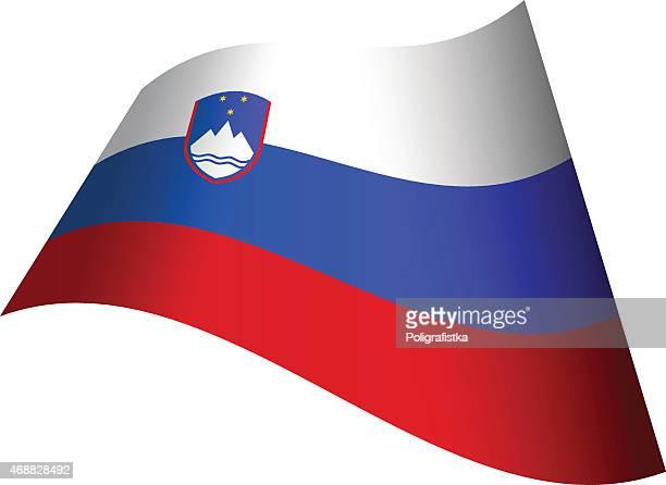 スロベニア旗を振る - スロベニア国旗点のイラスト素材/クリップアート素材/マンガ素材/アイコン素材