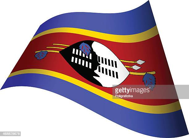 waving flag of swaziland - eswatini stock illustrations, clip art, cartoons, & icons