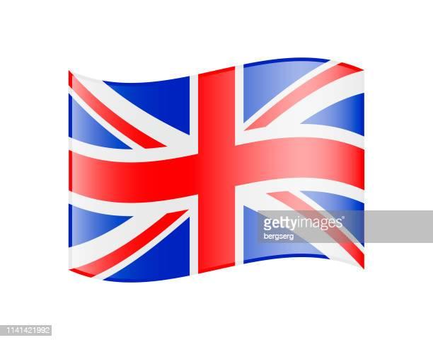 illustrations, cliparts, dessins animés et icônes de drapeau ondulant du royaume-uni. icône brillante - drapeau anglais