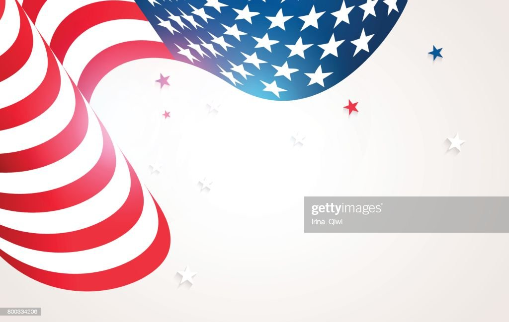 Waving flag of USA isolated on white background.