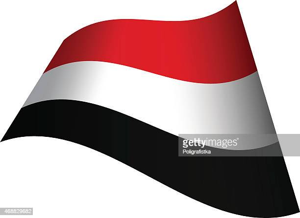 waving flag of yemen - yemen stock illustrations, clip art, cartoons, & icons